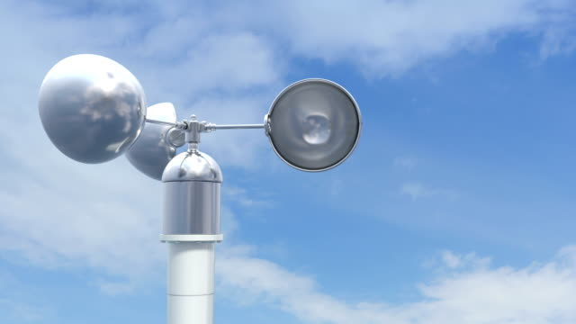 Shiny anemometer rotates on the wind. video