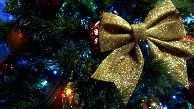 Shiny bow on the New Year tree video