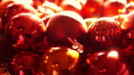 Shiny Christmas ball ornaments in new year light video