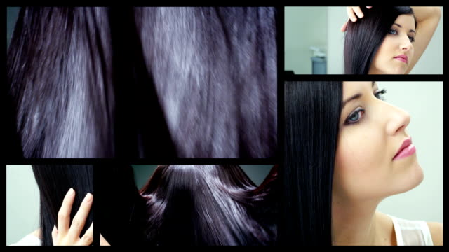 Shiny dark brown hair split screen video