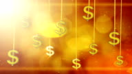 shiny dollar signs dangling on strings loop background video