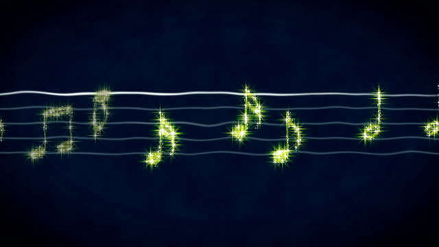 Shiny gold music notes moving on sheet, karaoke song, concert show on LED screen video