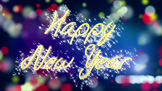 Shiny Happy New Year congratulation message on colorful background, greeting video