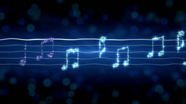 Shiny silver music notes moving on sheet, New Year celebration, karaoke song video
