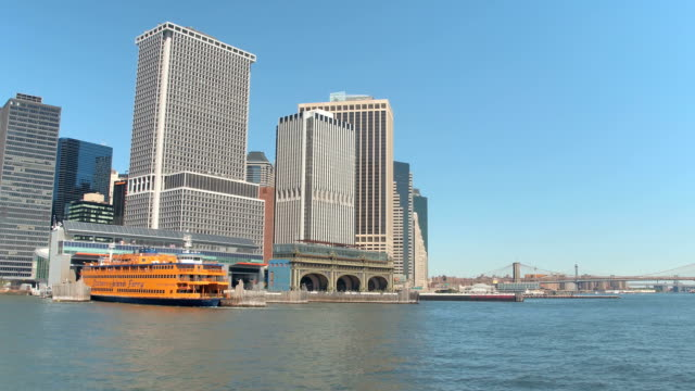 CLOSE UP: Ship anchored in Staten Island Ferry building in Downtown Manhattan video