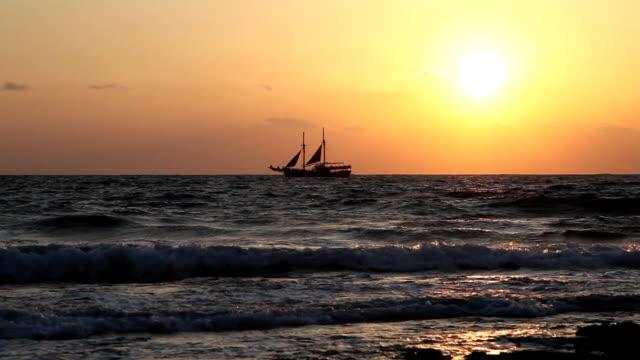 Ship at sunset video