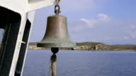 Ship bell on deck of commercial fishing boat video