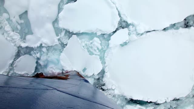 Ship Breaking Through Ice video