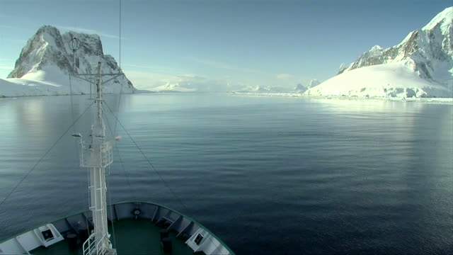 ship cruises through antarctica video
