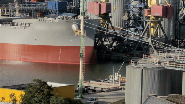 ship for loading cargo in seaport video
