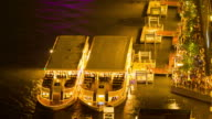 Ship in night Chao phraya river, Bangkok city ,Thailand video
