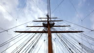 Ship mast at cloudscape video
