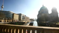 Ship on the Spree River with Berliner Dom video