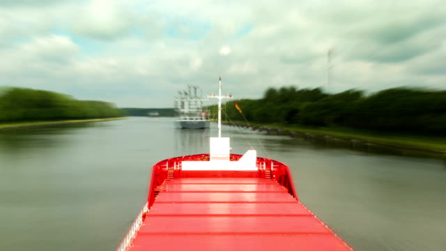 Ship passing in Kiel Canal time-lapse video