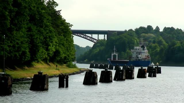 Ship passing Kiel Canal video