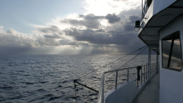 Ship point of view, sunset video