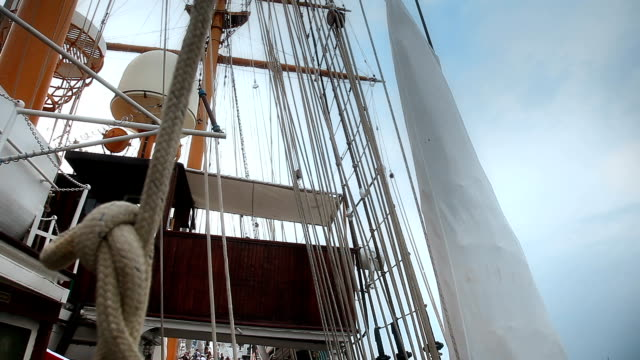 Ship rigging. Close up video