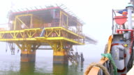 Ship sailed from the offshore gas production platform video
