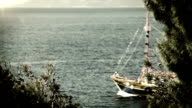 Ship sails in deep blue waves Adriatic Sea OLD FILM video