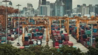 Shipping port in the big city video