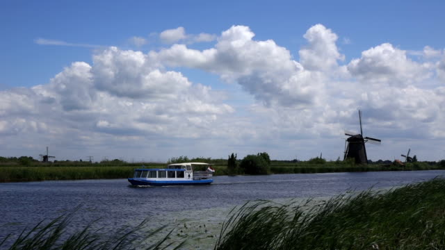 ships floating  in Kinderdijk video