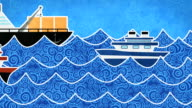 ships in the sea loopable animation video