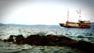 Ship's sailing alongside the Mediterranean coast video