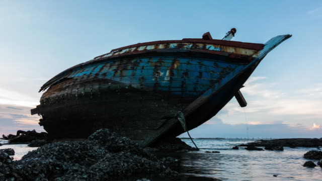 Shipwreck on the beach. video