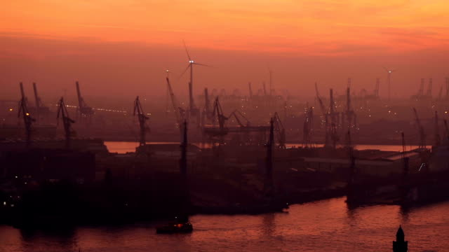 Shipyard in Hamburg at sunset video