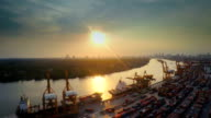 Shipyard in sunset , Aerial video