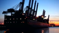Shipyard in sunset - Hamburg / Germany video