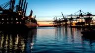 Shipyard in sunset - Hamburg video
