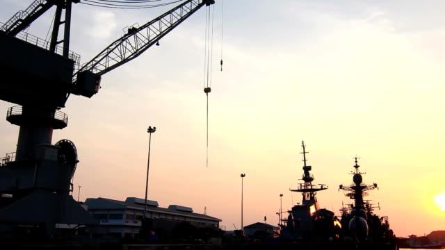 Shipyard in sunset video