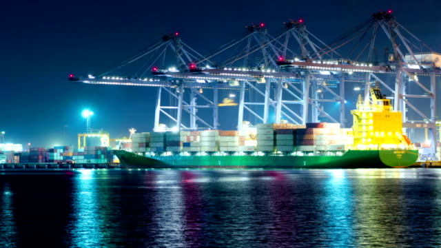 Shipyard working loading Container cargo at Night video