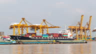 Shipyard working loading Container cargo, Time lapse video