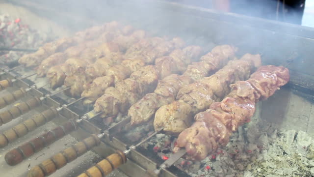 Shish Kebab Prepares On Coals video