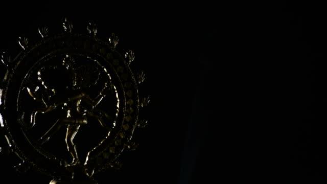 Shiva, deity of buddhism religion, rotating on black background video