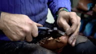 Shoemaker is Making Shoes in His Atelier video