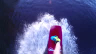 Shooting from the first person. Wakeboarder rides a reversible winch. video