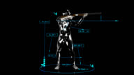 3D Shooting man with technical data video