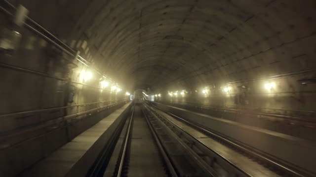 Shooting of the subway's tunnel from subway car video