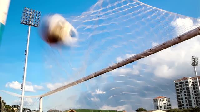 shooting soccer football to goal video
