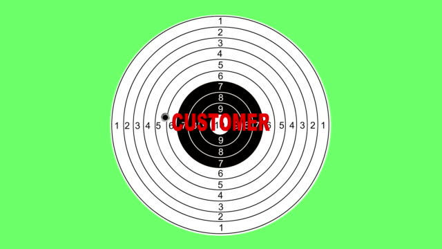 Shooting target with word customer video