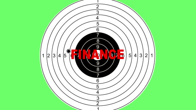 Shooting target with word finance video