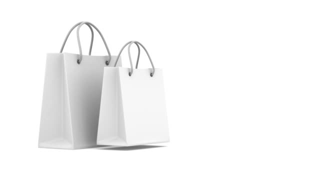 Shopping bag and percent on white background. Isolated 3D render video