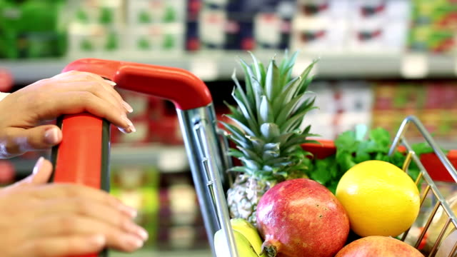 Shopping cart with fruits video