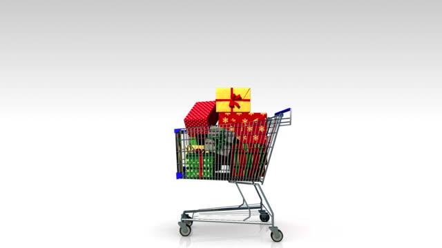 Shopping Cart,dropping gift box, shopping bag, 'SALE' video
