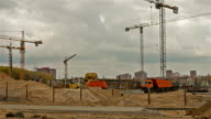 Shopping center constructing. Dolly, time lapse shot in motion video
