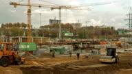 Shopping center construction. Time-lapse shot video