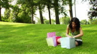 Shopping Girl in a park video